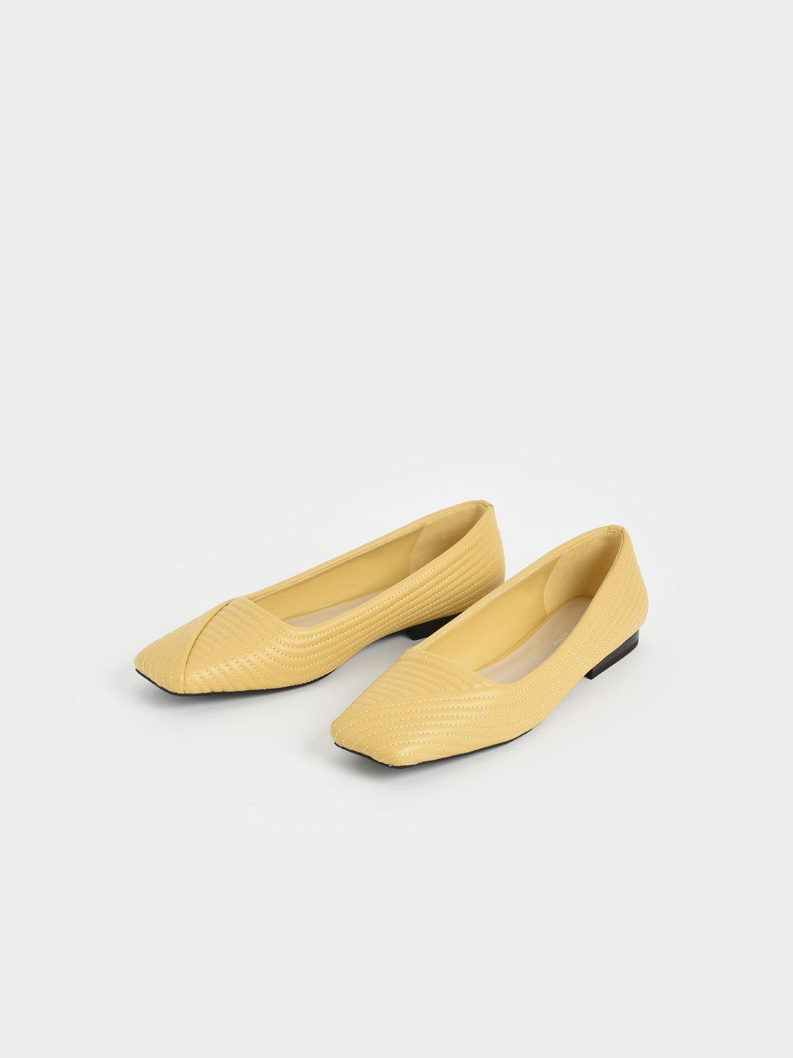 Stitch-Trim Square Toe Ballerina Flats, Yellow, hi-res