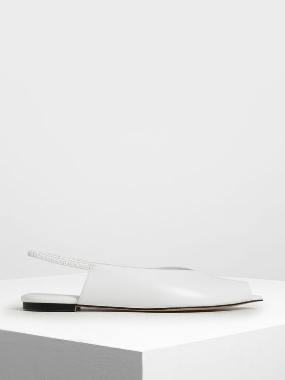 Pointed Peep Toe Slingback Flats, White, hi-res