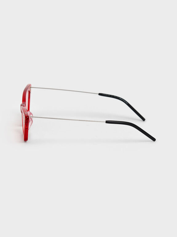 Thick Frame Cat-Eye Sunglasses, Red