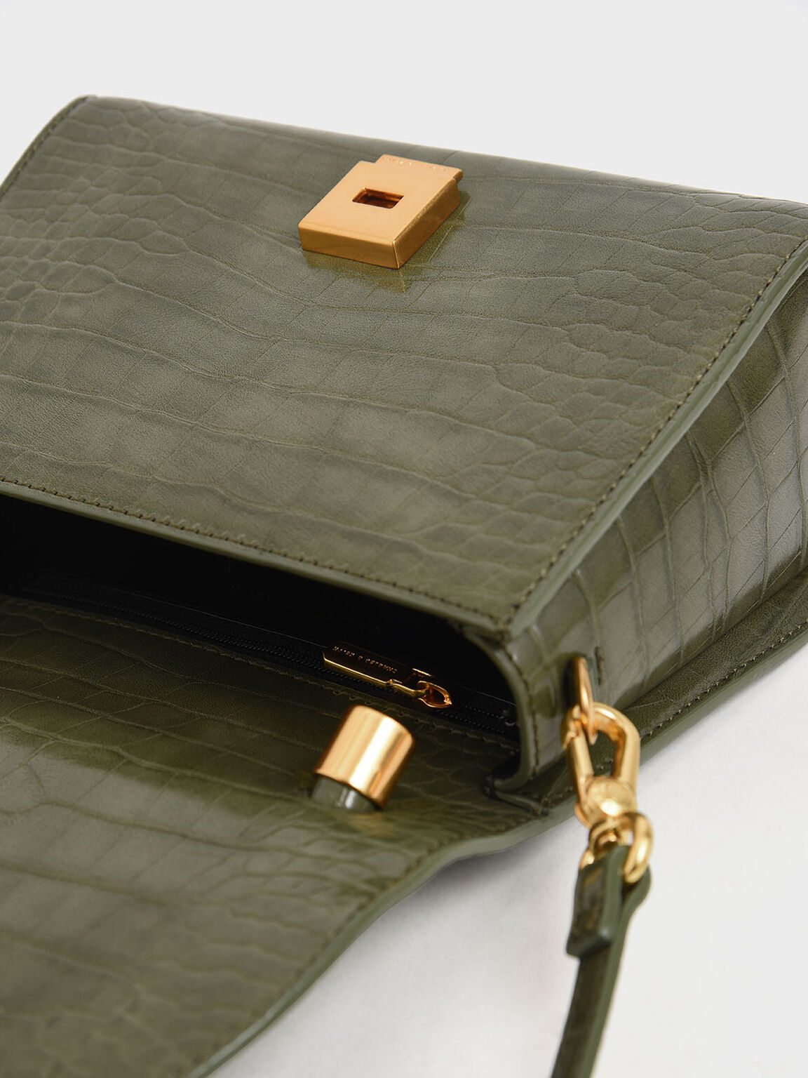 Croc-Effect Structured Top Handle Bag, Olive, hi-res