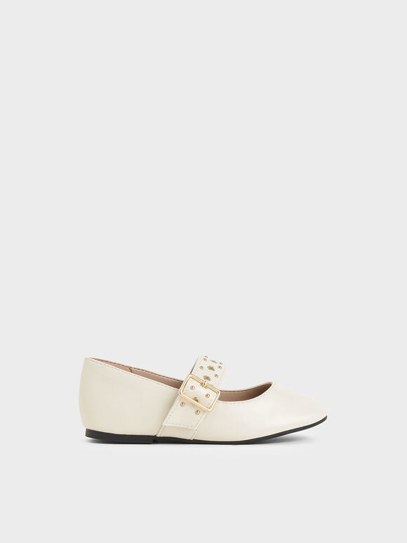 Girls' Studded Mary Jane Flats, Cream, hi-res