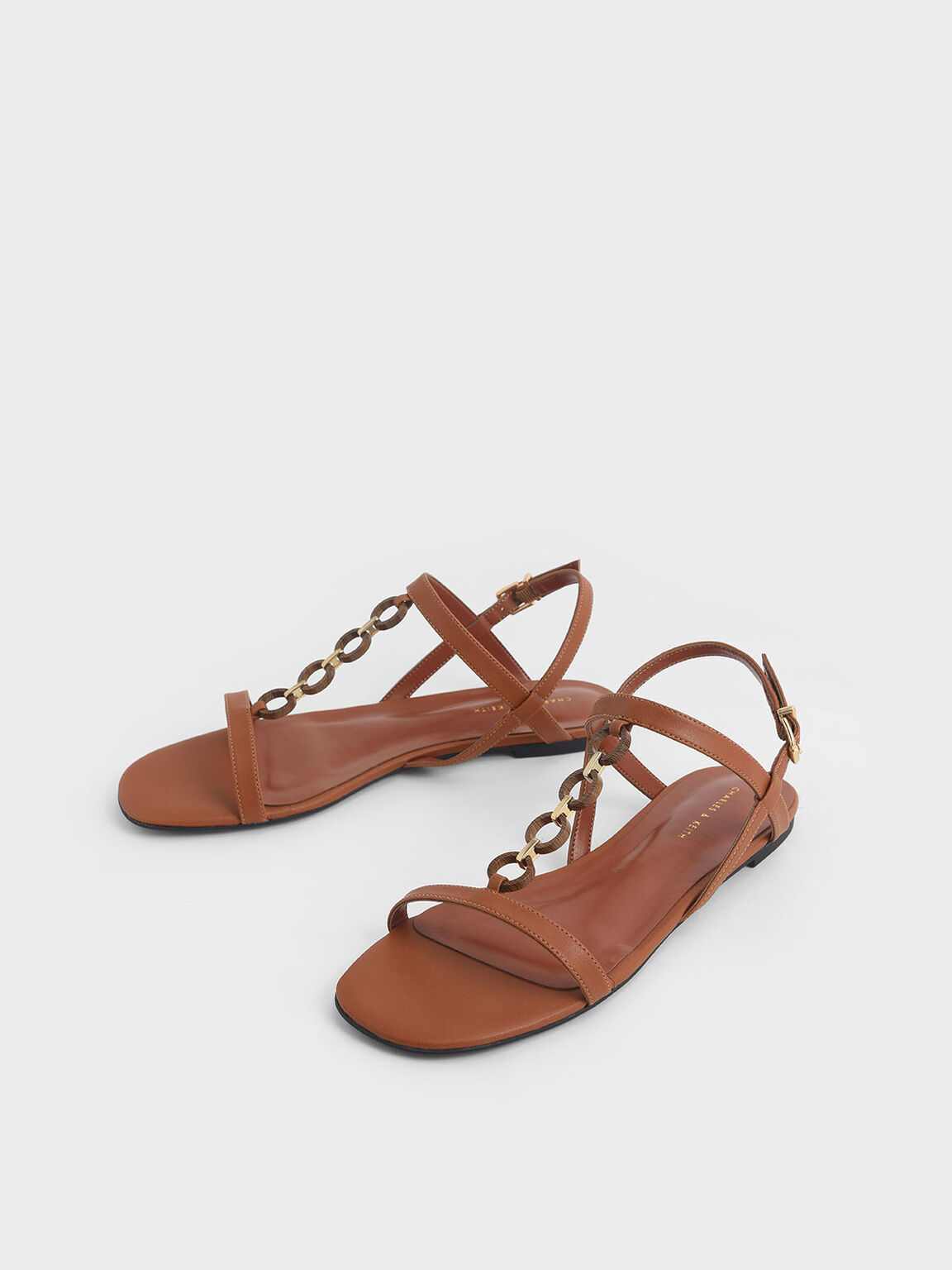 Wood-Effect Chain Link Sandals, Cognac, hi-res