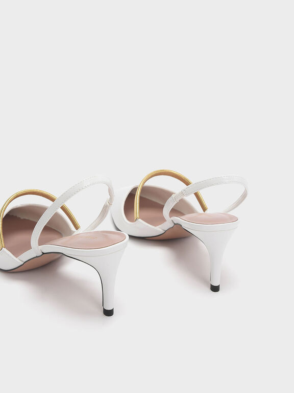 Gold Mary Jane Strap Slingback Heels, White, hi-res