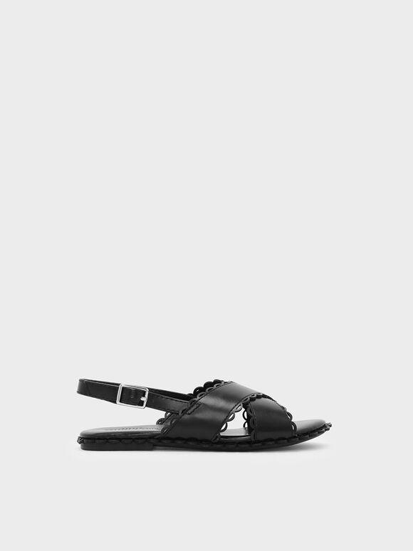 兒童波浪滾邊涼鞋, 黑色, hi-res