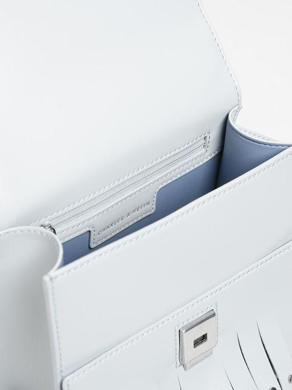 Fringe Trim Top Handle Bag, Light Blue, hi-res