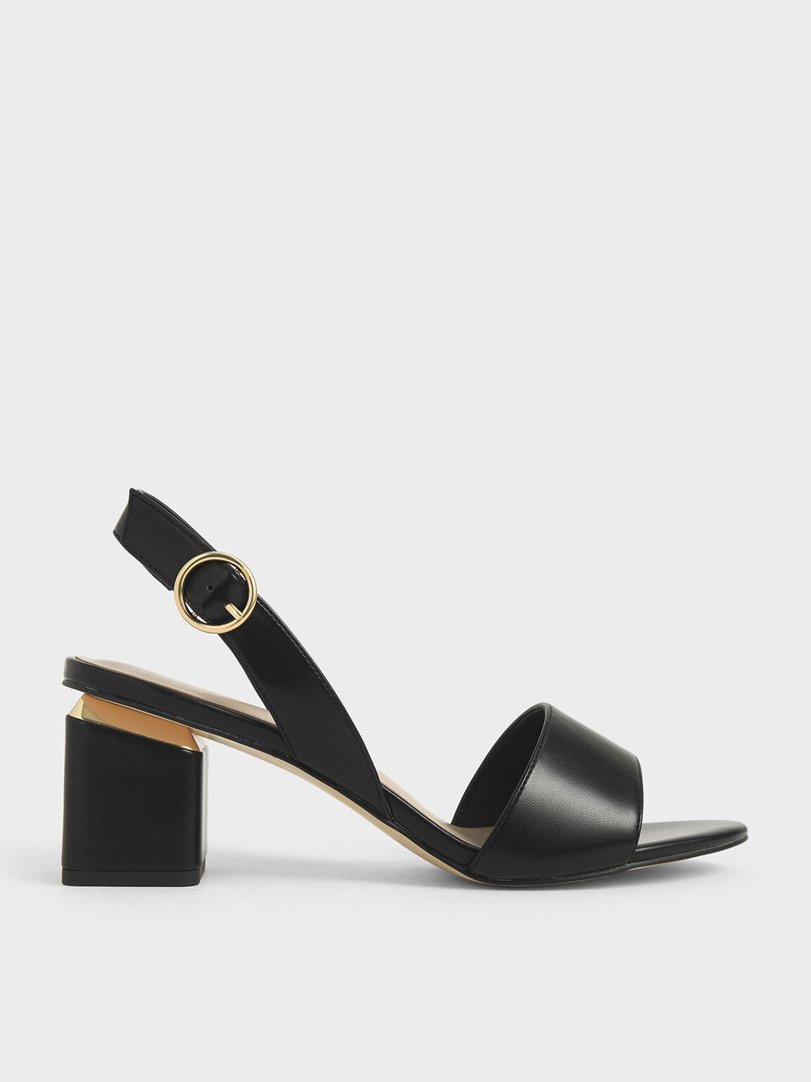 Slingback Block Heels, Black, hi-res