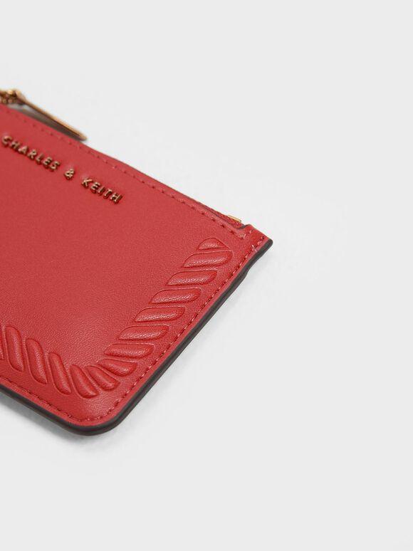 Embossed Rim Card Holder, Red, hi-res
