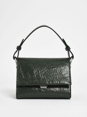 Wrinkled Effect Push Lock Handbag, Dark Green