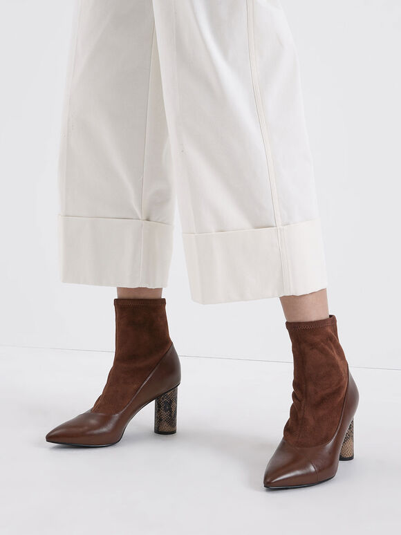 Textured Cylindrical Heel Ankle Boots, Brown, hi-res