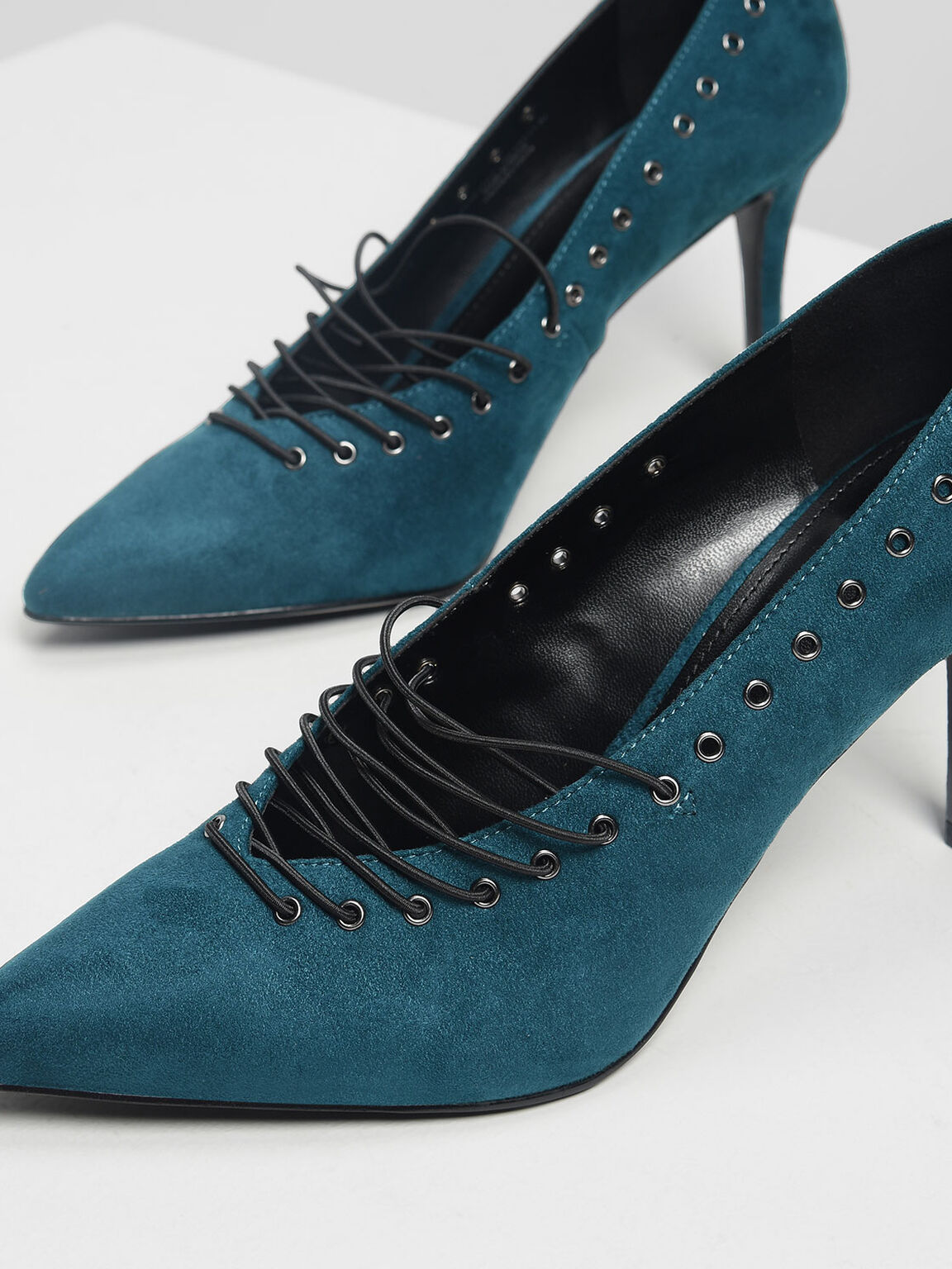 Lacing Detail Pumps, Teal, hi-res