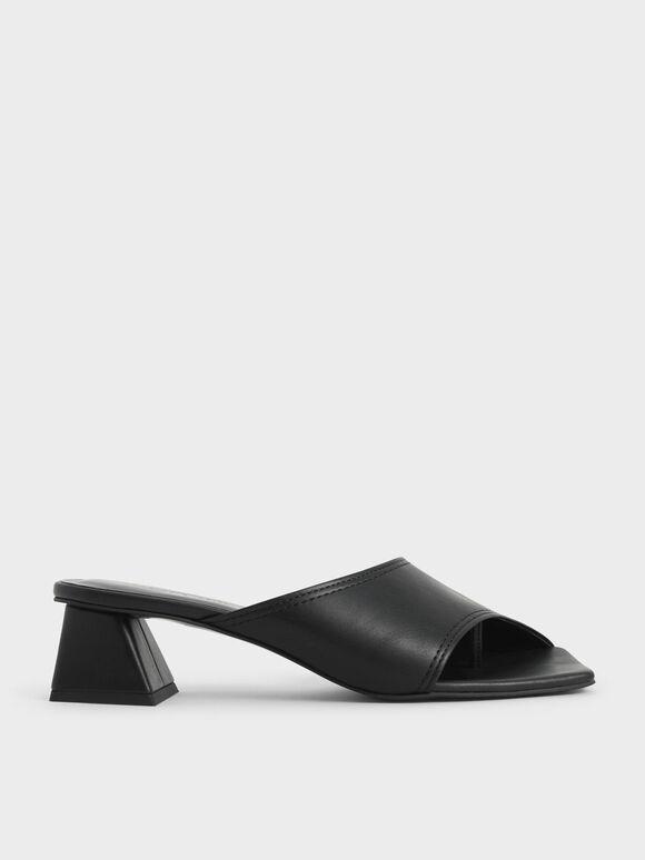 Trapeze Heel Asymmetric Mules, Black, hi-res