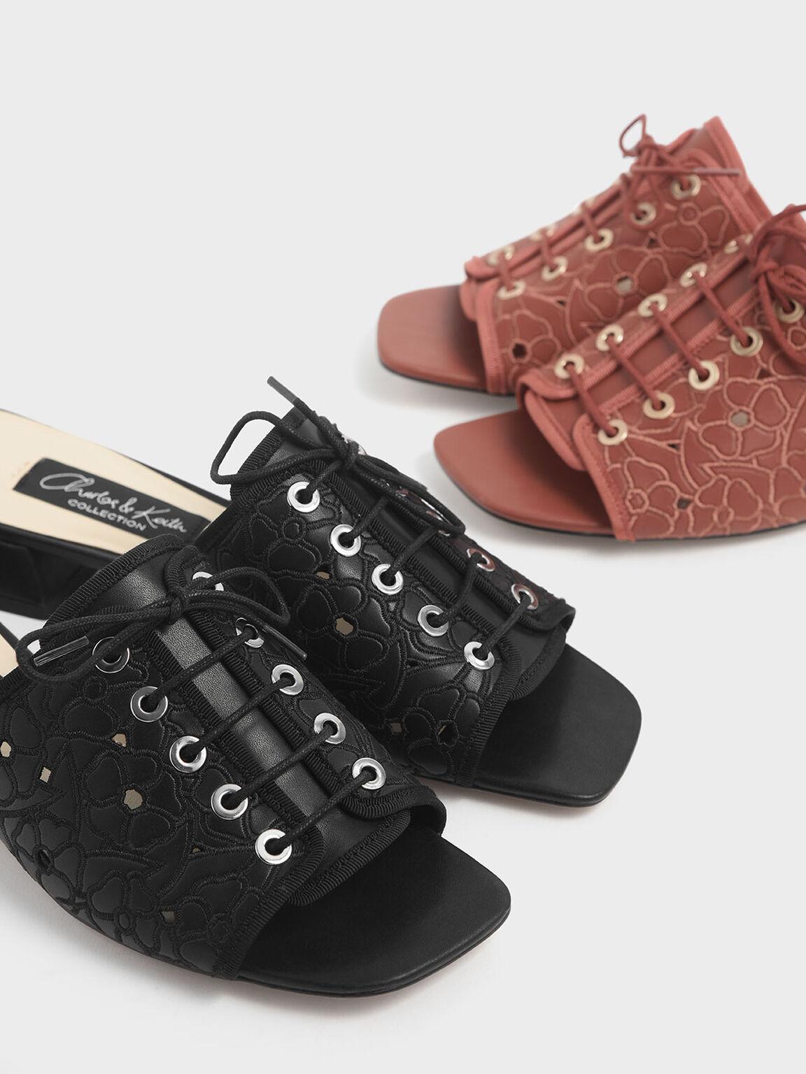 Embroidered Lace-Up Slide Sandals, Black, hi-res