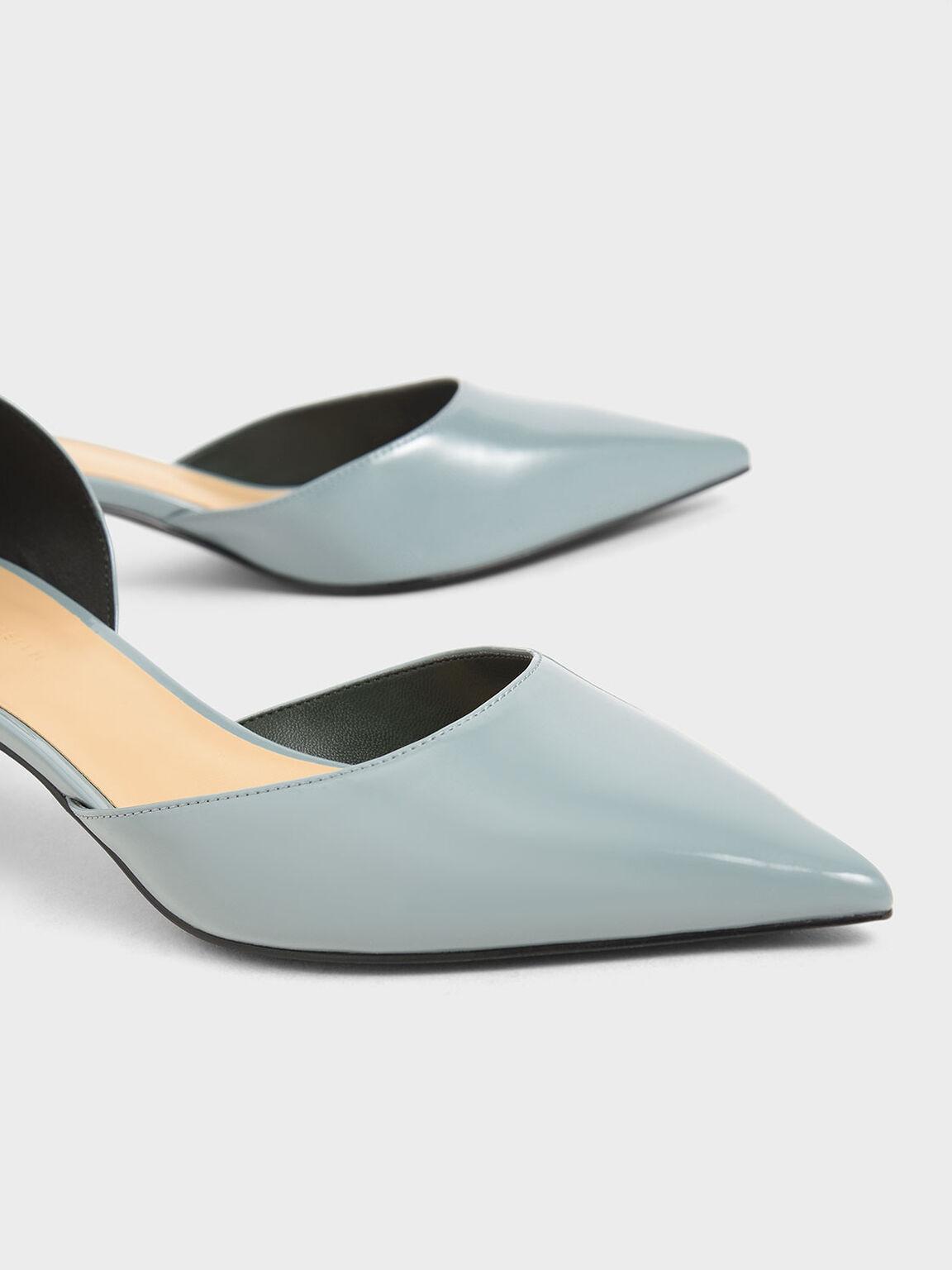 側挖空低跟鞋, 岩藍色, hi-res