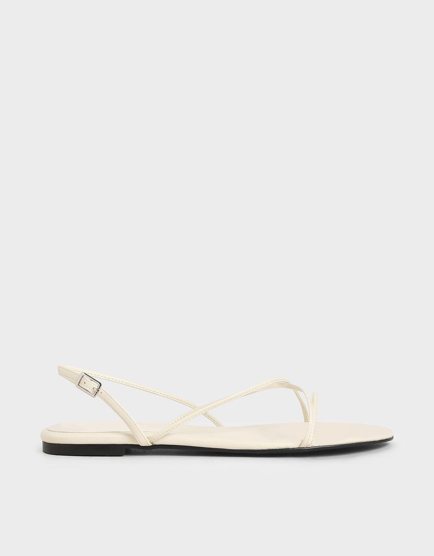 Chalk Strappy Flat Sandals | CHARLES
