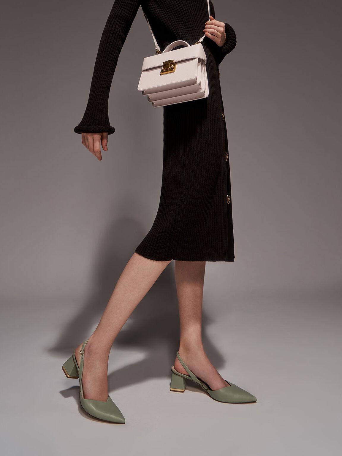 V字後踝帶跟鞋, 灰綠色, hi-res