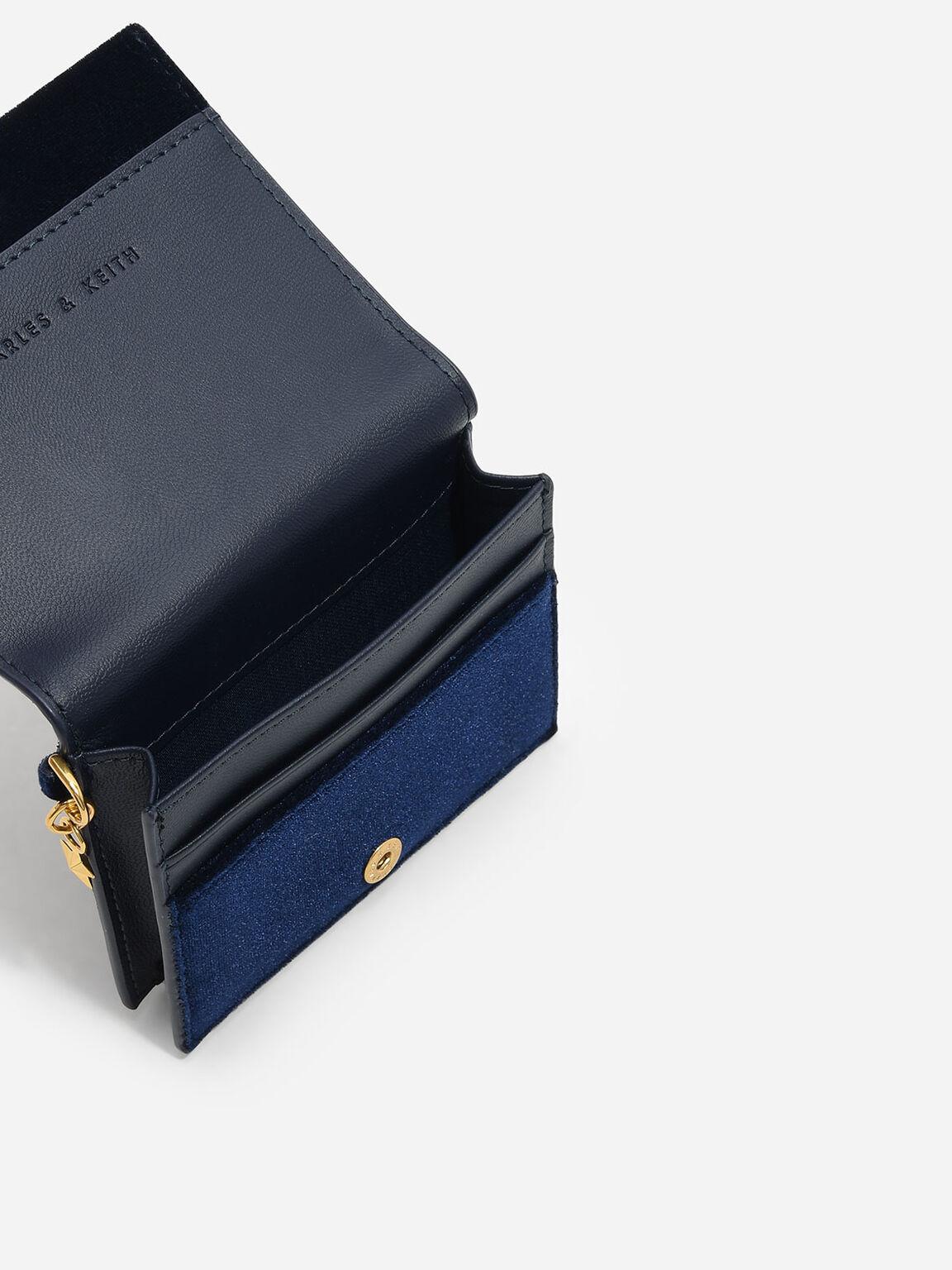 Snap Button Galaxy Embellished Velvet Card Holder, Navy, hi-res