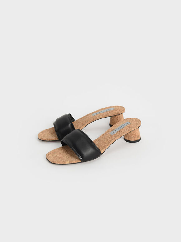 Puffy Cylindrical Heel Mules, Black, hi-res