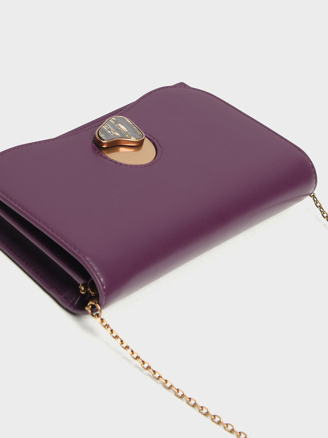 Stone Detail Long Wallet, Purple, hi-res