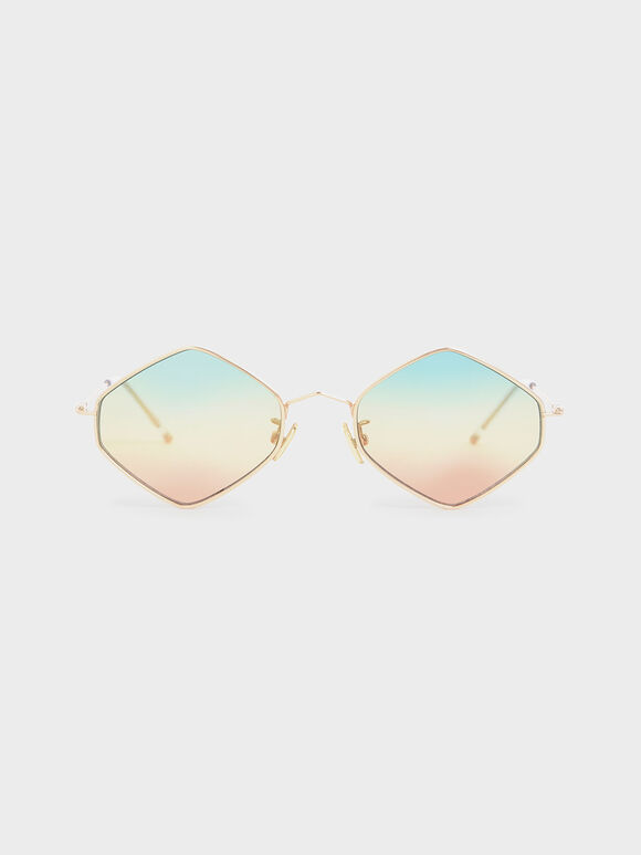 Thin Metal Frame Geometric Sunglasses, Multi, hi-res