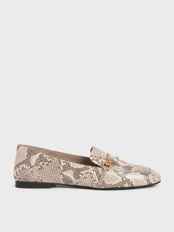 Snake Print Metallic Accent Loafers, Animal Print Natural, hi-res