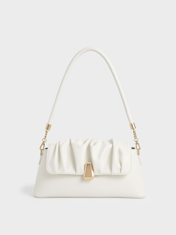 Beaded Strap Ruched Trapeze Bag, White, hi-res