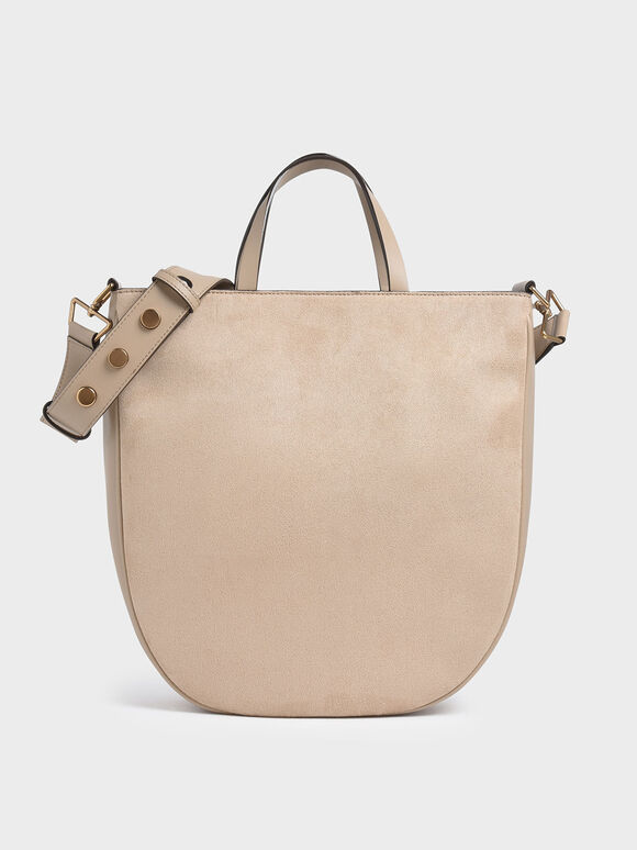 Textured U-Shaped Tote Bag, Beige, hi-res