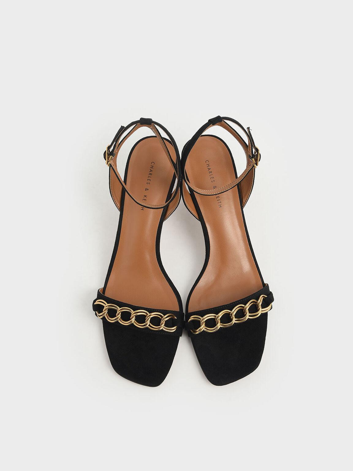 Chain Link Kitten Heel Sandals, Black, hi-res