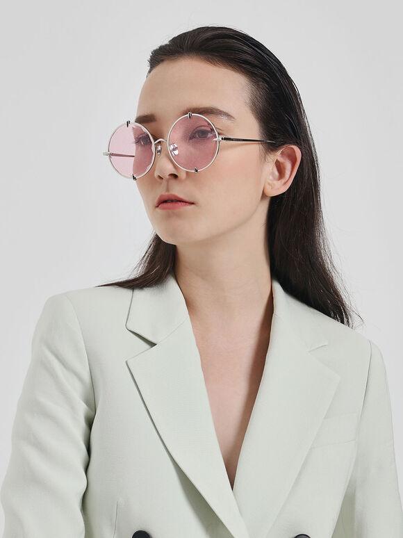 金屬圓框墨鏡, 粉紅色, hi-res