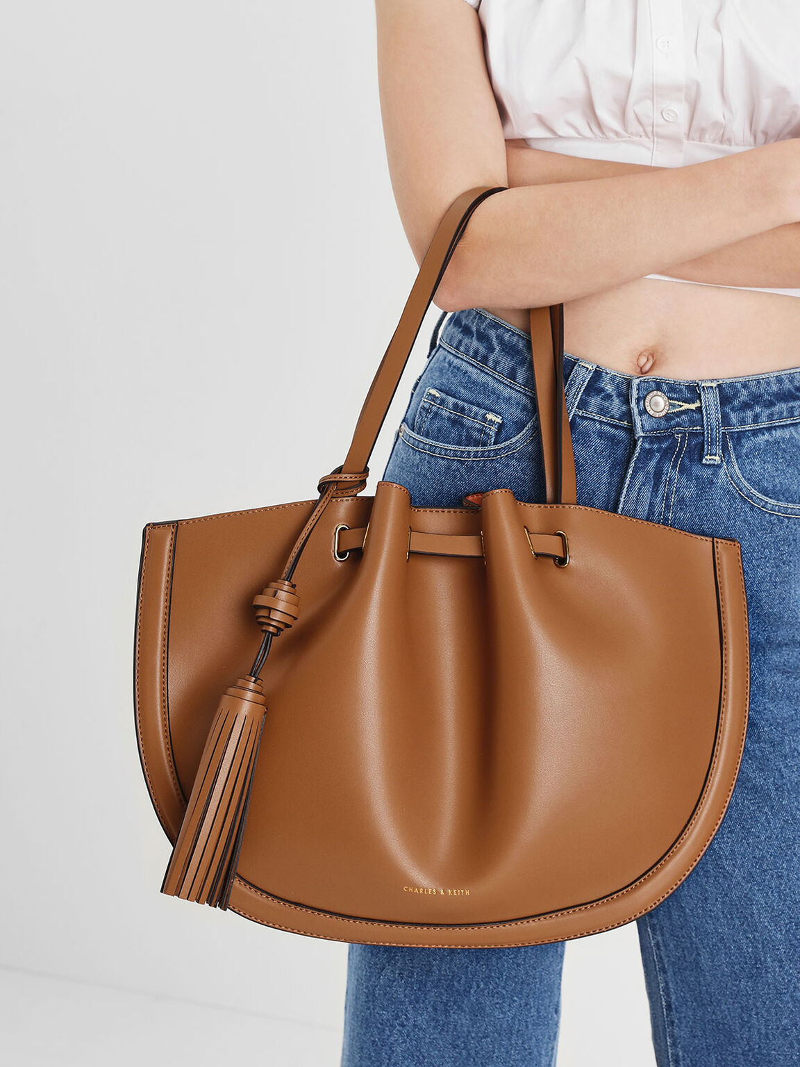 Tassel Tote Bag, Tan, hi-res