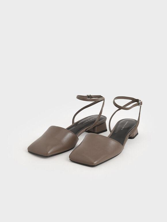 方頭繞踝低跟鞋, 深咖啡, hi-res