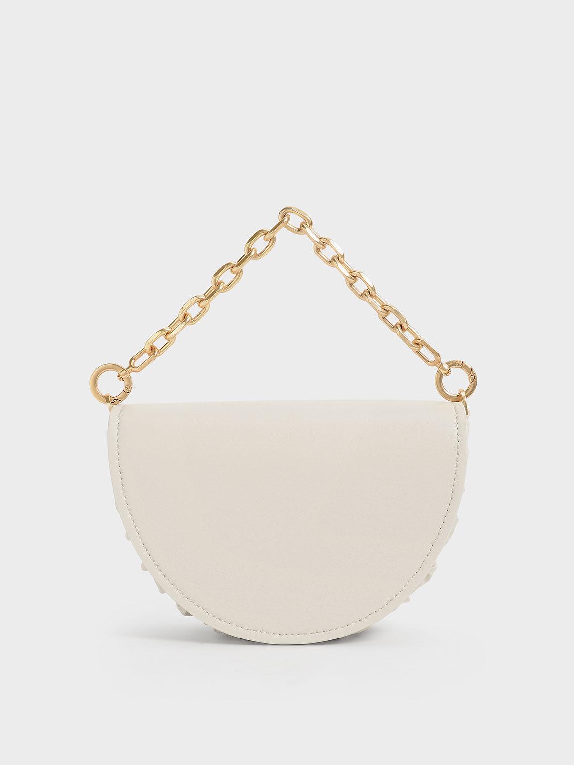 Chain Handle Half Moon Bag, Cream, hi-res