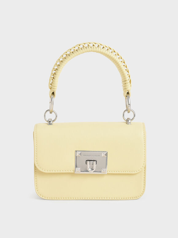 Metallic Turn-Lock Bag, Butter, hi-res