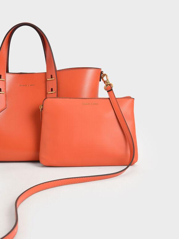 鉚釘手提兩用包, 橘色, hi-res