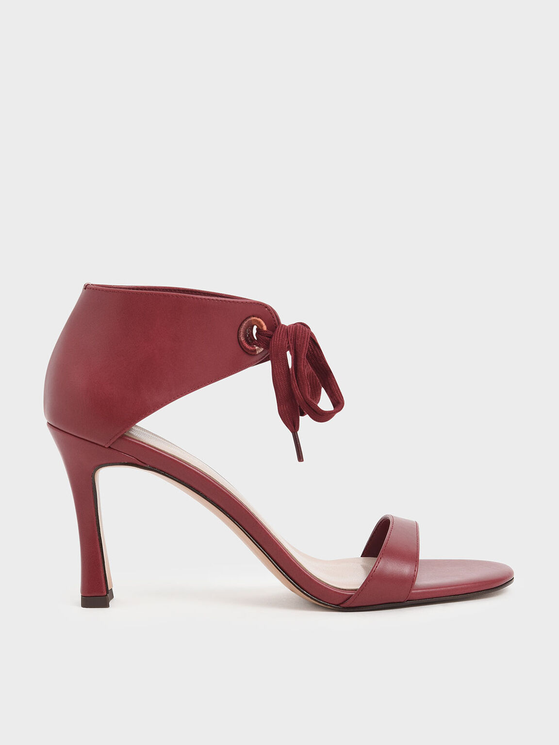 Bow Ankle Strap Sculptural Heel Sandals, Red, hi-res