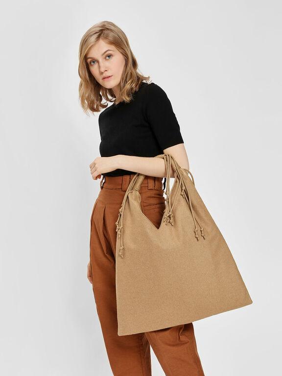 Fringe Detail Slouchy Bag, Beige