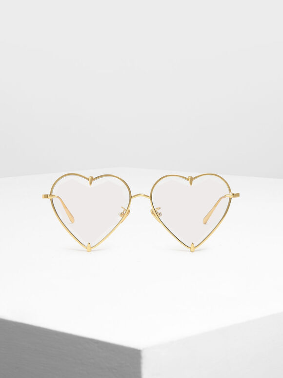 Thin Metal Frame Heart-Shaped Sunglasses, White, hi-res