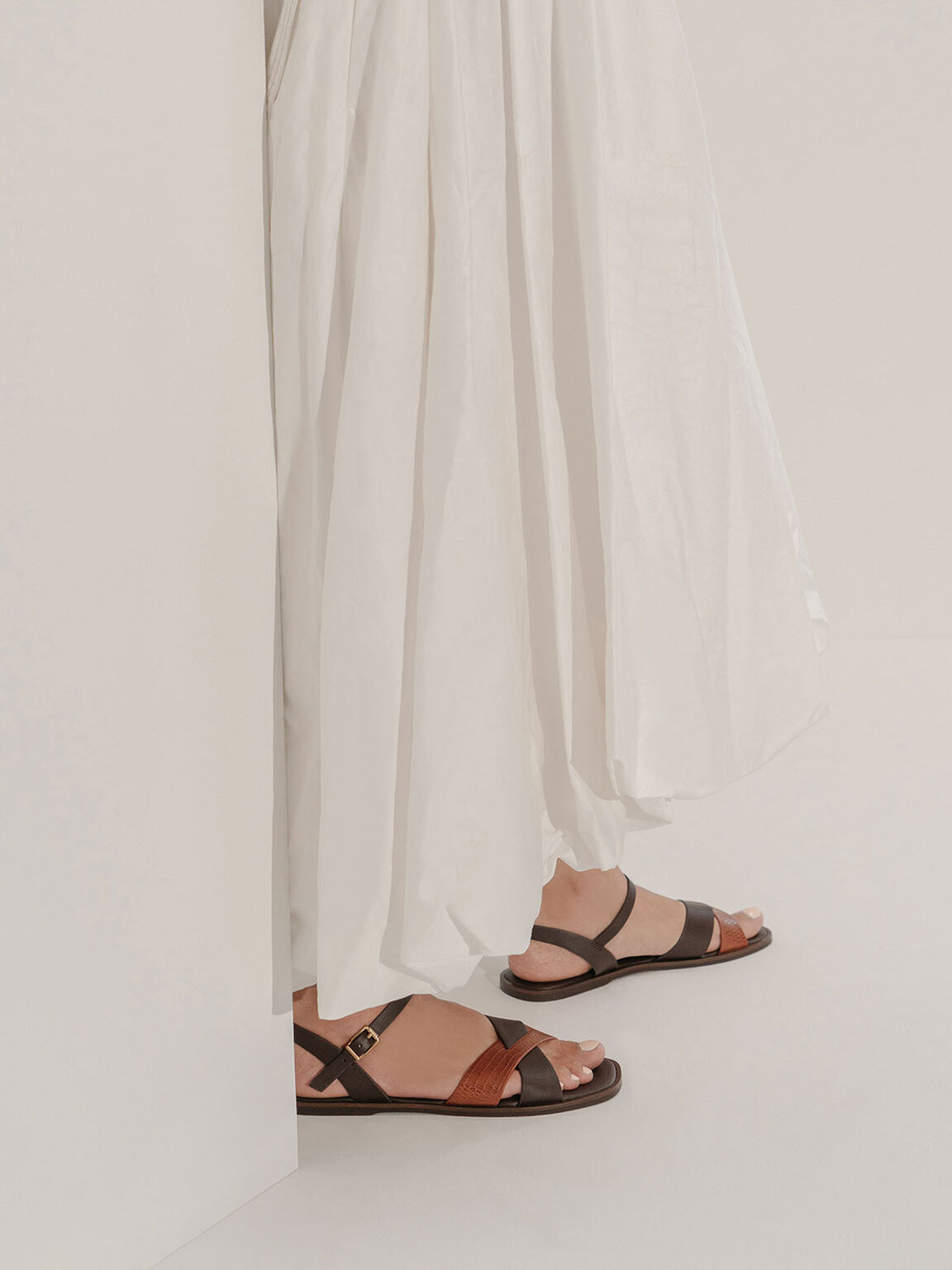 Mock-Croc Flat Sandals, Animal Print Brown, hi-res