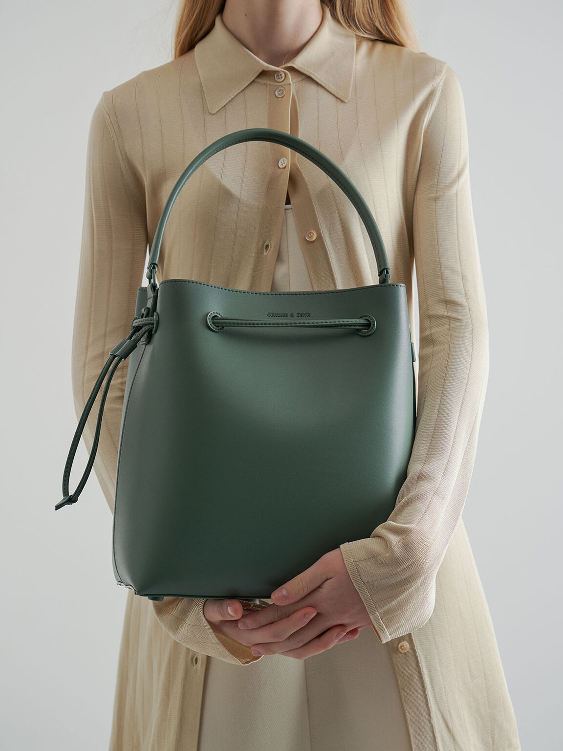 Drawstring Hobo Bag, Green, hi-res