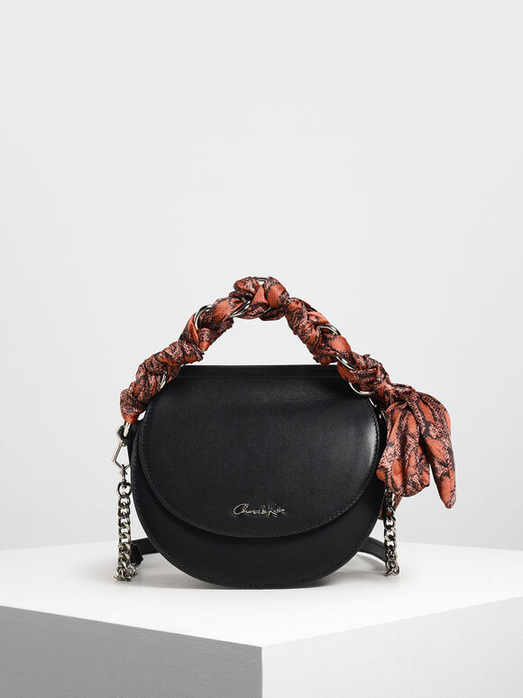 Leather Satin Scarf Crossbody Bag, Black, hi-res