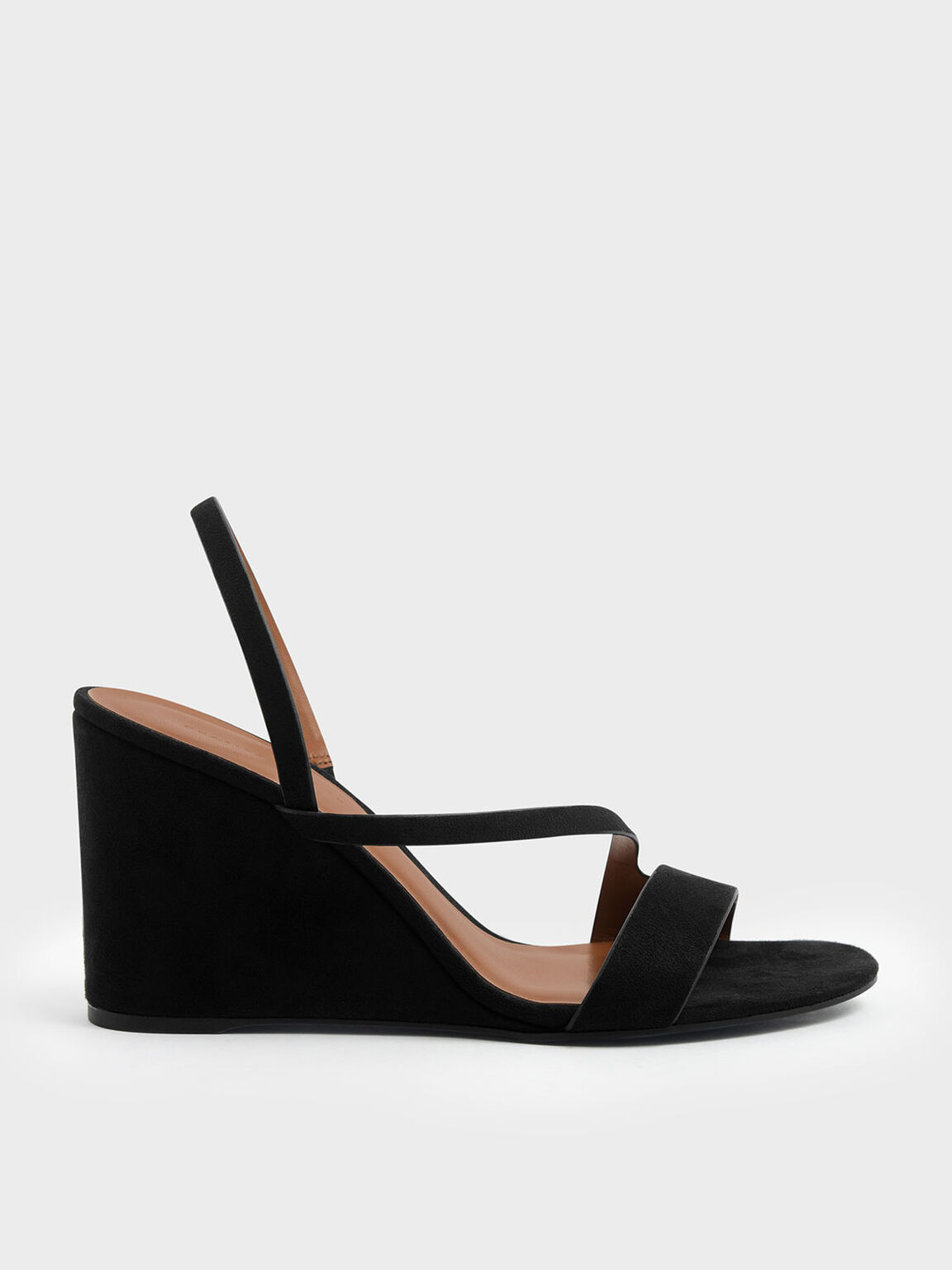 Asymmetric Strap Textured Slingback Wedges, Black, hi-res
