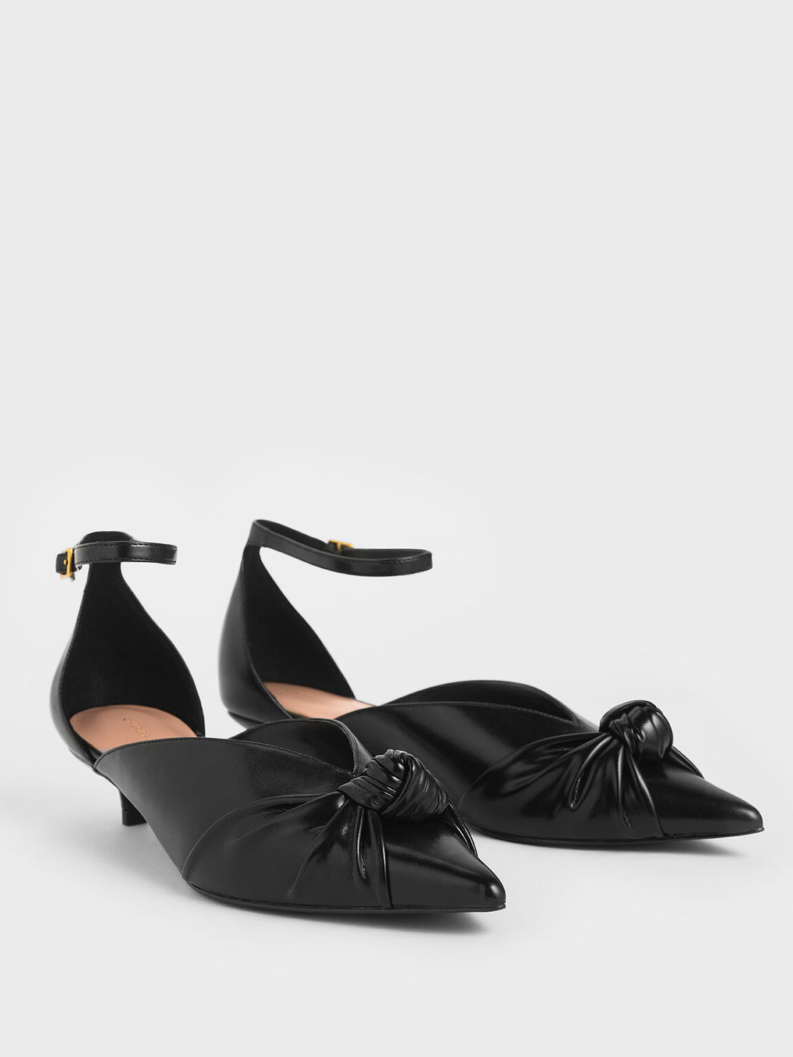 扭結低跟鞋, 黑色, hi-res