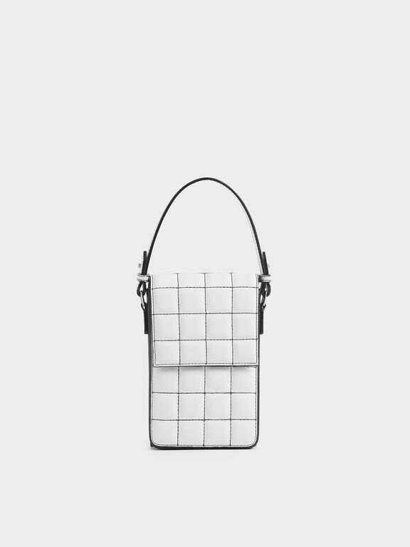 Two-Tone Quilted Wallet, White, hi-res