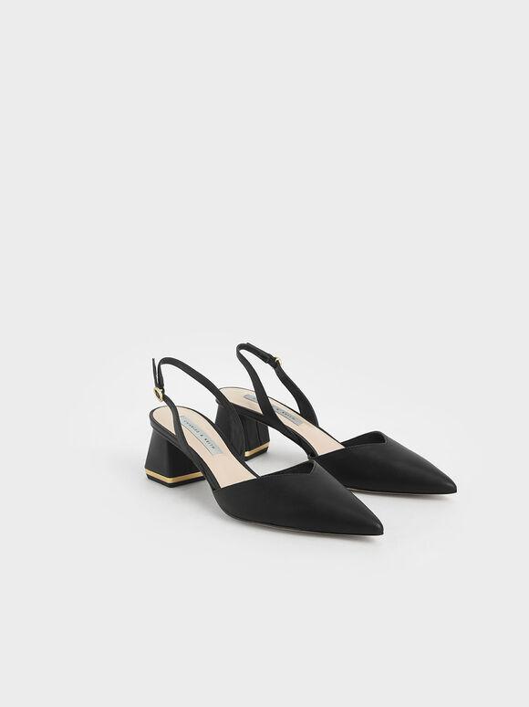 V字後踝帶跟鞋, 黑色, hi-res