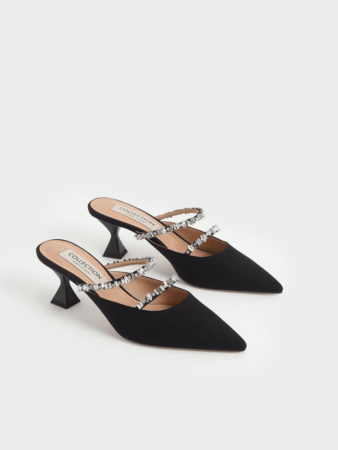 Canvas Gem-Embellished Mules, Black, hi-res
