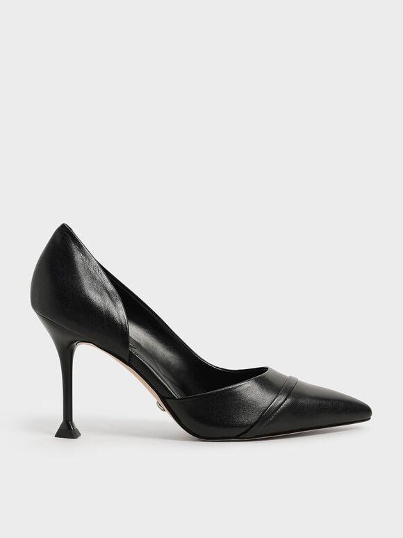 Leather Sculptural Heel Half D'Orsay Pumps, Black, hi-res
