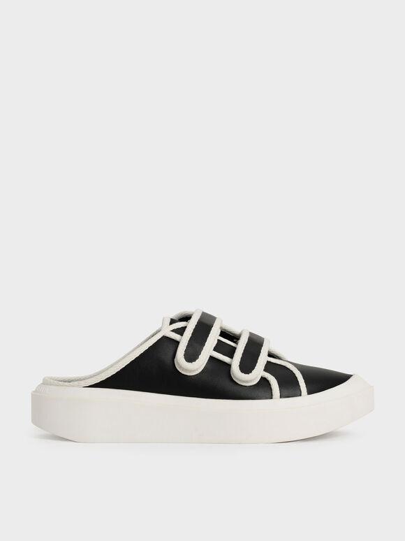 Two-Tone Velcro Sneaker Mules, Black, hi-res