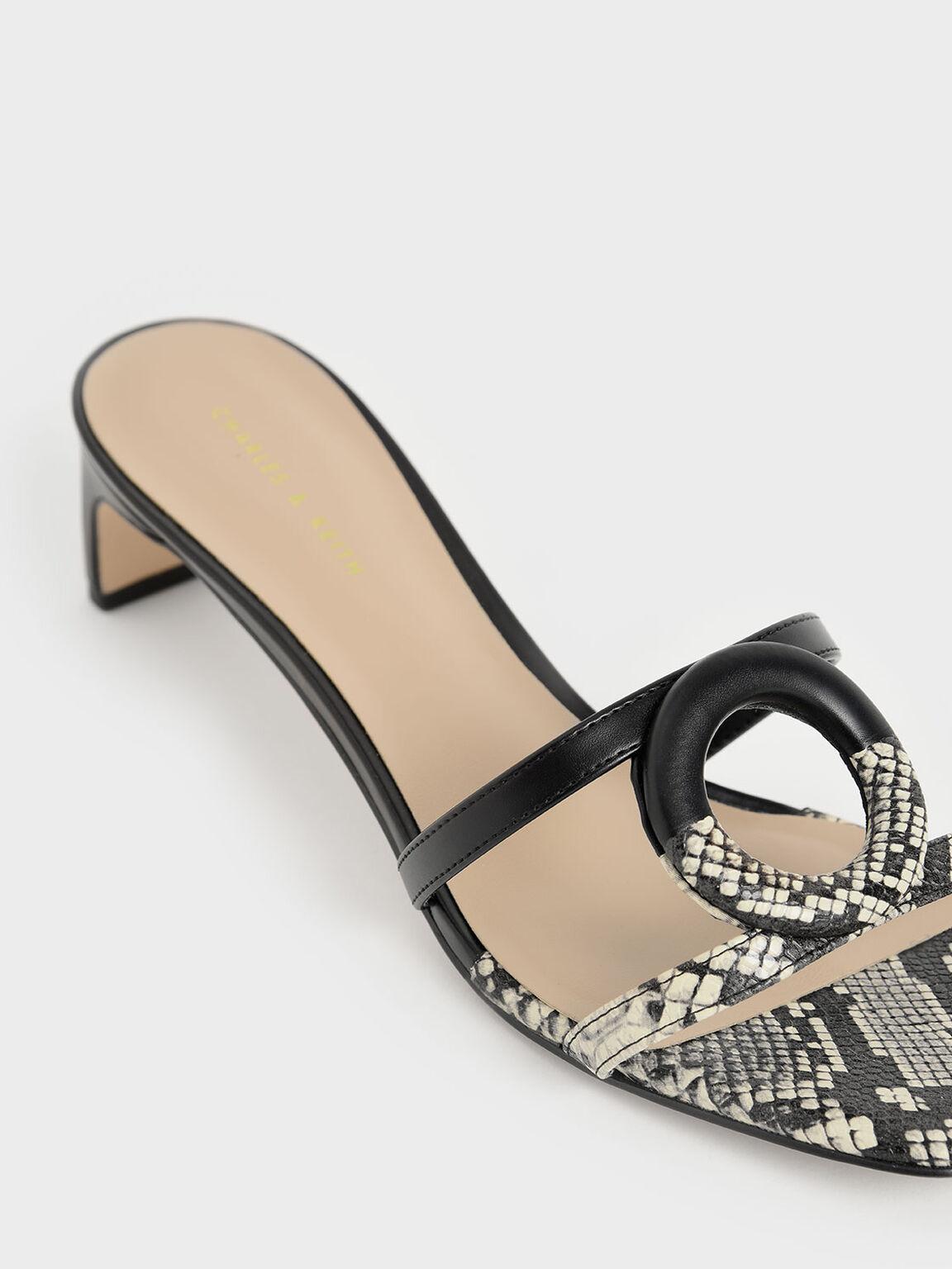 Snake Print Mismatched Blade Heel Sandals, Multi, hi-res