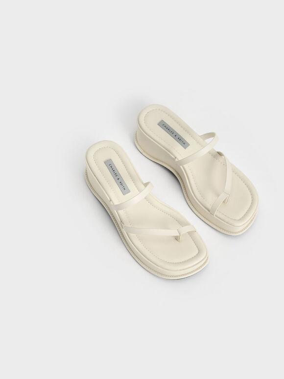 Toe Loop Flatform Sandals, Chalk, hi-res