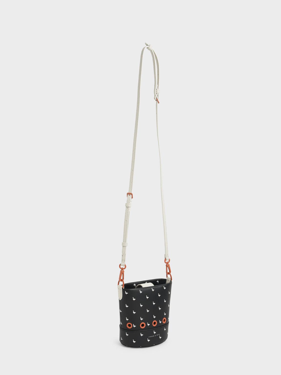 Girls' Printed Bucket Bag, Black Textured, hi-res