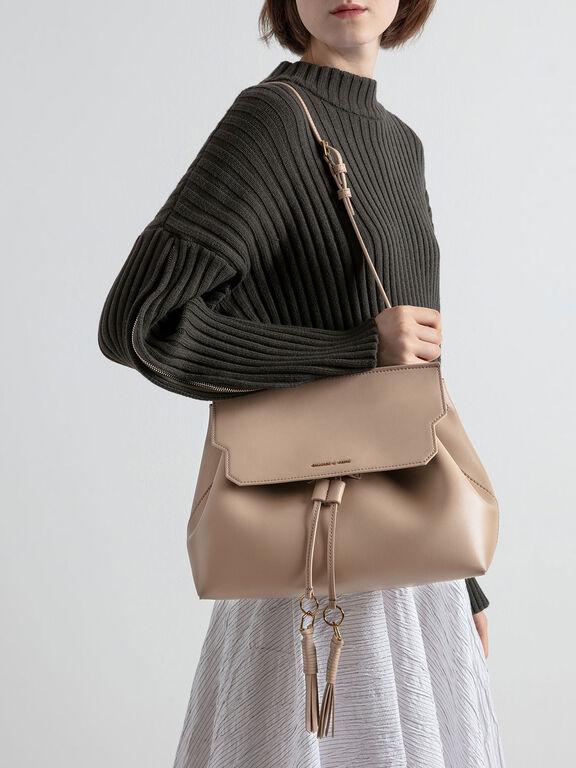 Tassel Shoulder Bag, Beige